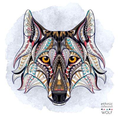 Carta da parati capo Patterned del lupo sullo sfondo del grunge. / Disegno / totem / tatuaggio indiano africano. Esso può essere utilizzato per la progettazione di una t-shirt, sacchetto, cartolina, un poster e così