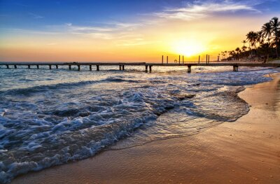 Carta da parati Caraibi tramonto spiaggia del mare con palme.