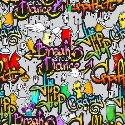 Carta da parati Caratteri Graffiti seamless pattern