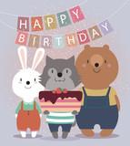 Carino Carta Buon Compleanno Con Gli Animali Divertenti Orso Carta