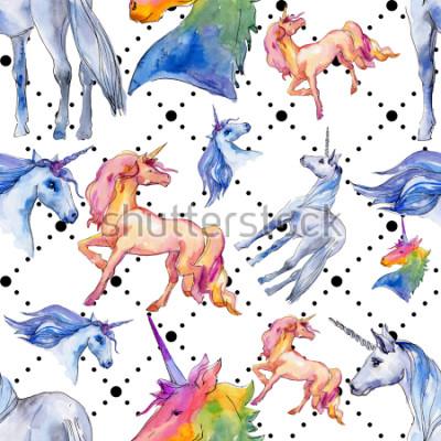 Carta da parati Carino cavallo unicorno. Sogno di bambini da favola. Modello senza cuciture del fondo del corno animale dell'arcobaleno. Trama di stampa carta da parati in tessuto. Acquerelli Animale Selvatico per
