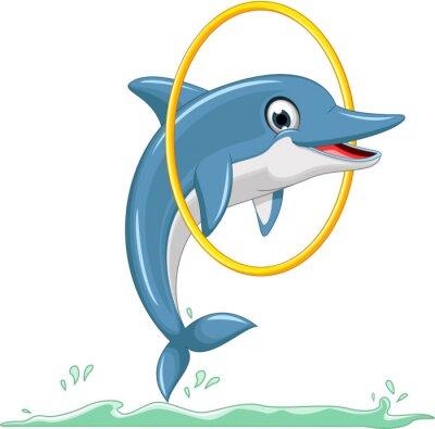 Carta da parati carino delfino cartone animato che salta