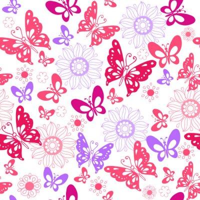 Carino Farfalle Rosa Su Uno Sfondo Bianco Seamless Pattern Di Carta
