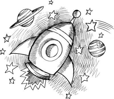 Carta da parati Carino Outer Space Rocket Sketch Vector