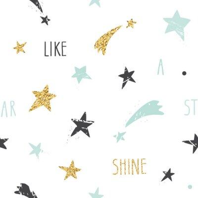 Carta da parati Carino sfondo divertente seamless con disegnati a mano le stelle e di ispirazione scritto a mano citazione brillare come una stella. Glitter, pastello scintille blu e nero isolato su bianco.
