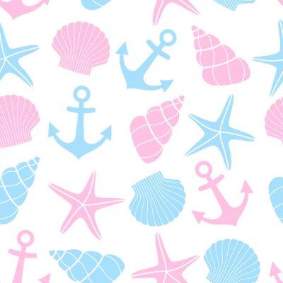 Carino Vita Marina Sfondo Seamless Nautico Con Le Stelle Marine