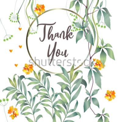 Carta da parati Carta botanica con foglia di monstera, fiori. Concetto di ornamento di primavera. Manifesto floreale, invito. Vector la cartolina d'auguri decorativa della disposizione o fondo di progettazione