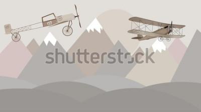 Carta da parati Carta da parati per camerette per bambini con montagne e biplani