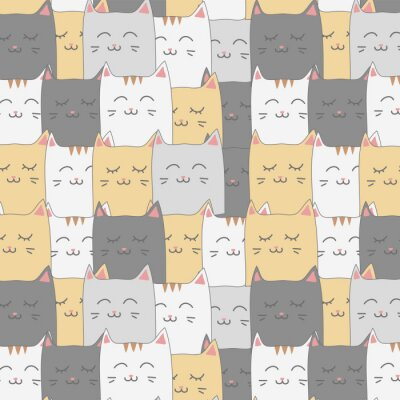 Carta da parati Carta da parati senza cuciture del fondo del modello del gattino adorabile sveglio del gatto