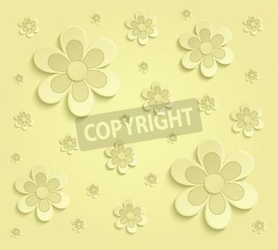 Carta da parati carta fiori di primavera 3D carta da parati gialla raster