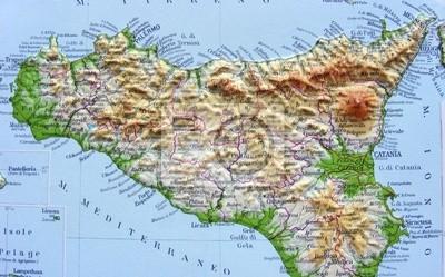 Sicilia Cartina Geografica.Carta Da Parati Carta Geografica Della Sicilia