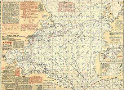 Carta da parati carta nautica d'epoca
