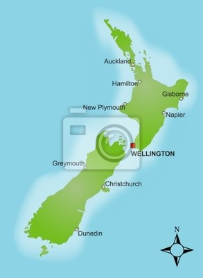 Cartina Nuova Zelanda.Cartina Nuova Zelanda Vettore Carta Da Parati Carte Da Parati Auckland Wellington Vista Dall Alto Myloview It