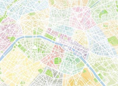 Carta da parati Cartina Parigi, Disegnata a mano, pennellate, strade e vie, Francia