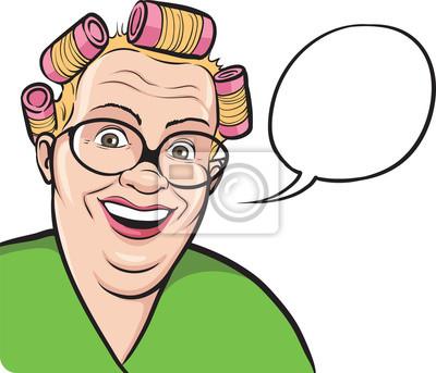 Cartone animato casalinga grasso in bigodini con fumetto carta da