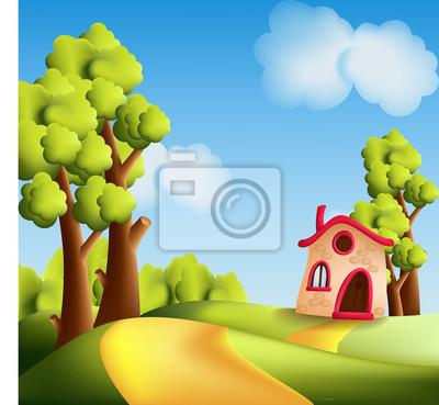Cartone animato paesaggio con alberi e piccola casa carta da parati