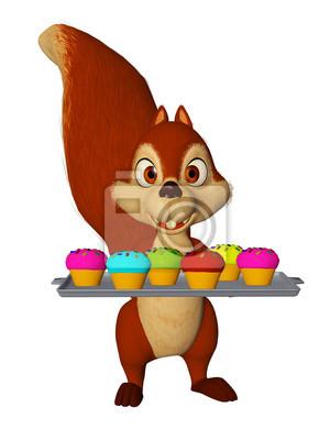Cartone animato scoiattolo con i bigné i bambini partito carta da