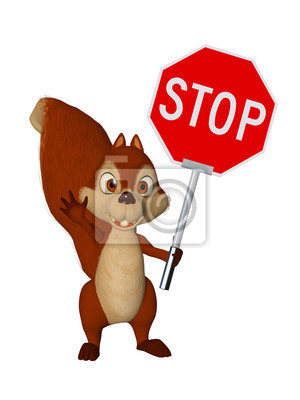 Cartone animato scoiattolo con stop carta da parati u carte da