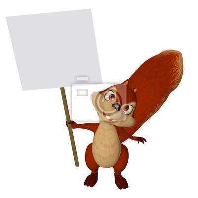 Cartone animato scoiattolo con un segno bianco carta da parati