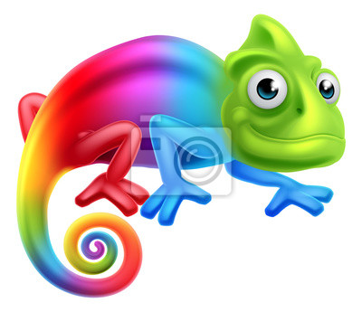 Carta da parati Cartoon Arcobaleno Chameleon