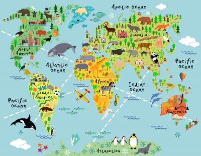 Carta da parati Cartoon mappa del mondo