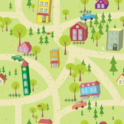 Carta da parati Cartoon mappa seamless con case e strade