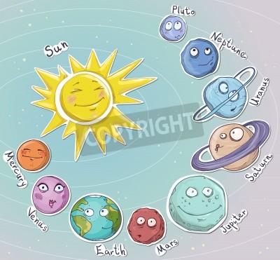 Carta da parati Cartoon planets  Solar system  Vector illustration