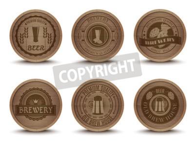 Carta da parati Casa di birra in legno emblemi stile retrò a goccia bevanda stuoie sottobicchieri di raccolta Icone stampa astratta illustrazione vettoriale isolato