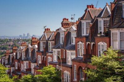 Carta da parati case di mattoni su una panoramica tiro da Muswell Hill, Londra, Regno Unito