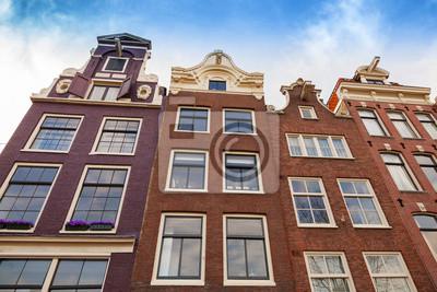 Carta da parati Case Vivere facciate con cielo blu. Amsterdam, Paesi Bassi