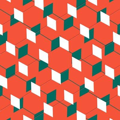 Carta da parati Casella abstract cubista illusione arte in arancione e verde