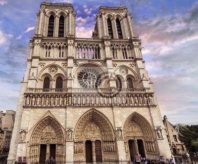 Carta da parati Cattedrale di Notre Dame con bel cielo, Parigi