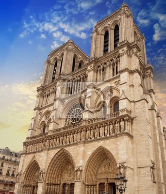 Carta da parati Cattedrale di Notre Dame facciata a Parigi