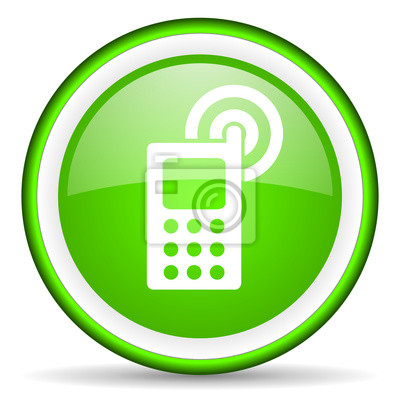 Cellulare Icona Verde Lucido Su Sfondo Bianco Carta Da Parati