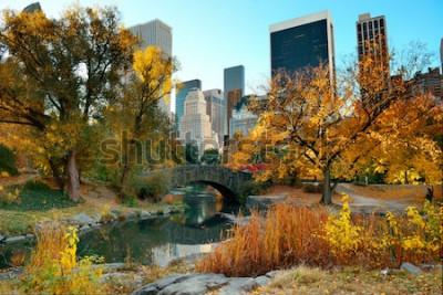 Carta da parati Central Park Autunno e costruzioni nel Midtown Manhattan New York City