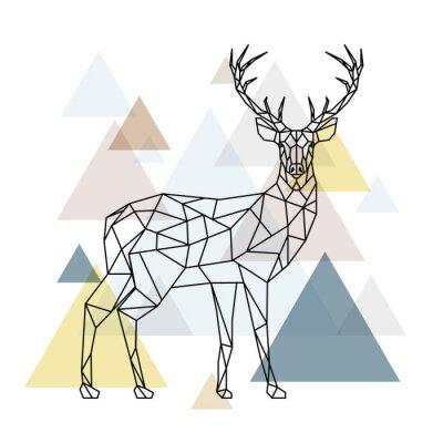 Carta da parati Cervi poligonali astratti. Illustrazione geometrica hipster. Renna con vista laterale. Stile scandinavo.