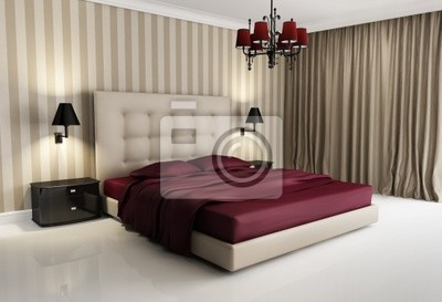 Chic biege hotel di lusso, rosso, camera da letto, con lampadario ...