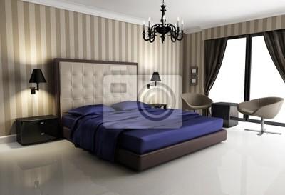 Chic biege hotel di lusso, viola, camera da letto, con lampadario ...