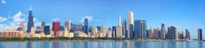 Carta da parati Chicago panorama orizzonte di lago Michigan, IL, Stati Uniti