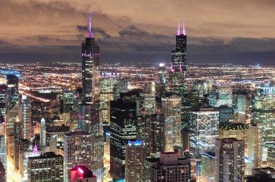 Carta da parati Chicago urbano vista aerea al crepuscolo