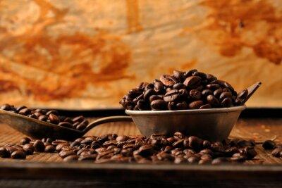 Carta da parati Chicchi di caffè e cioccolato fondente in una ciotola in stile vintage