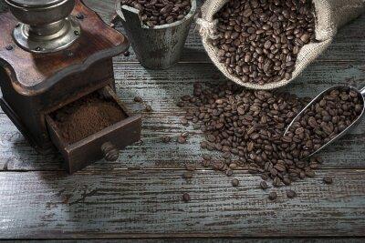 Carta da parati Chicchi di caffè e smerigliatrice dall'Alto