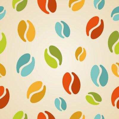 Carta da parati Chicchi di caffè variopinte seamless pattern illustrazione