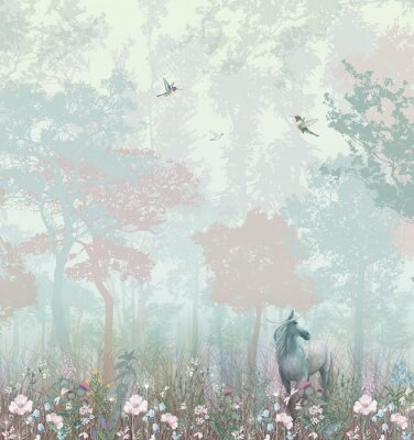 Carta da parati Children's wallpaper. Blue and pink forest. Fairy forest with horse and caliber.