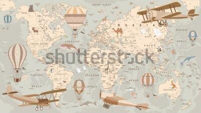 Carta da parati childrens retro world map with animals airplanes and balloons