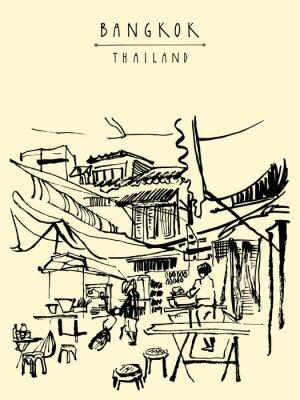 Carta da parati China Town a Bangkok, Thailandia. stand gastronomici, tavoli, sgabelli. Le persone che acquistano cibo cinese in un semplice caffè della via. Verticale mano annata disegnato cartolina. illustrazione d