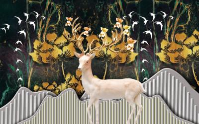 Carta da parati christmas background with deer