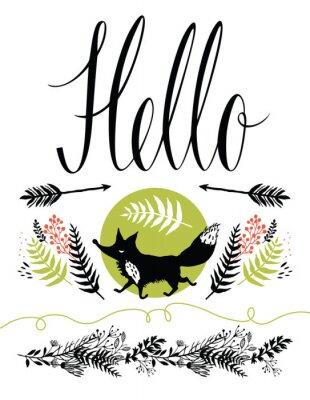 Carta da parati Ciao cover design cartolina. Happy volpe e forestali erbe, frecce