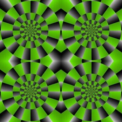 Carta da parati Ciclo Optical Illusion Spin, vettore modello astratto sfondo.