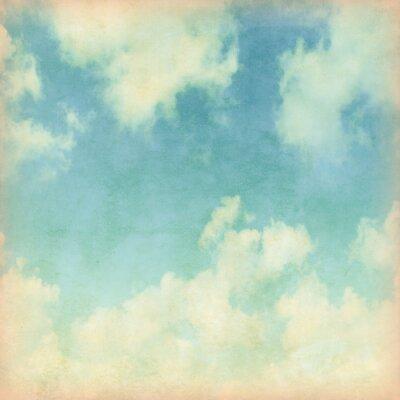 Carta da parati Cielo azzurro con nuvole in stile grunge.